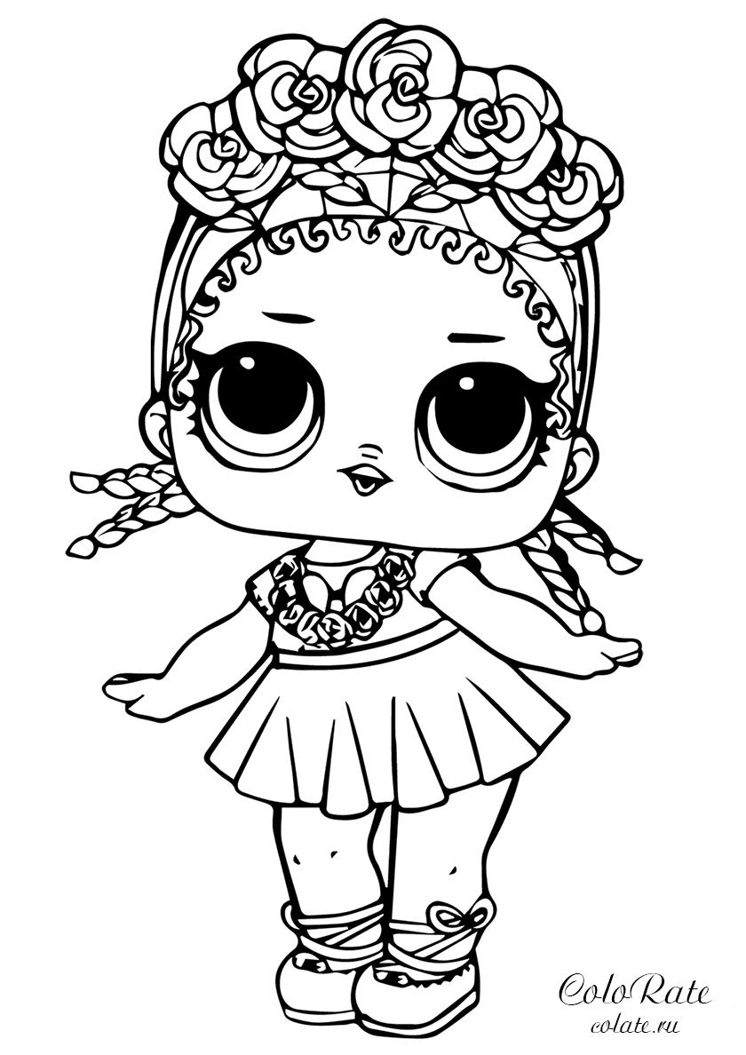 Раскраска Кокосик Q.T. распечатать | Куклы ЛОЛ / L.O.L