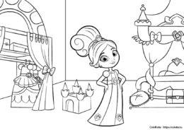 Детская разукрашка - Комната настоящей леди - для девочек скачать и распечатать на А4
