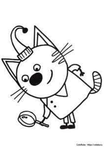 Компот играет в сыщика - Три кота - раскраска для детей
