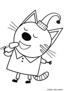 Компот с мороженым - раскраска по мультику Три кота