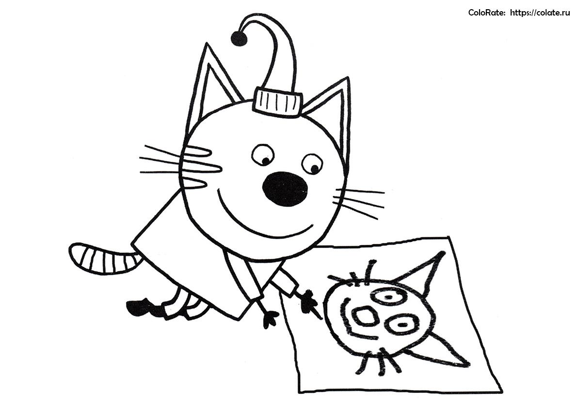 Раскраска Компот занимается рисованием распечатать   Три кота