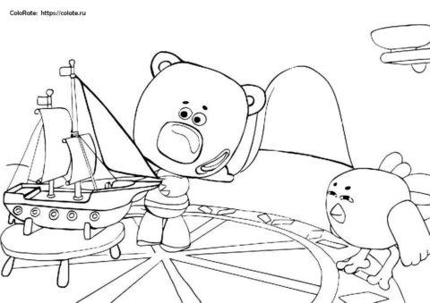 Кораблестроители - разукрашка по мультику МиМиМишки для детей
