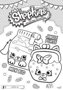 Коробка молока и Кошелек Шопкинс - контурное изображение для раскрашивания