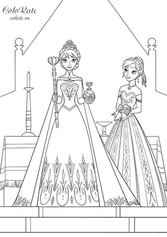 Раскраска Королева Эльза и ее сестра распечатать | Эльза и ...