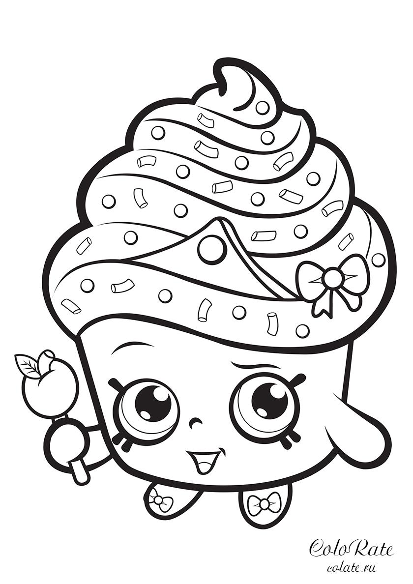 Раскраска Королева Капкейков распечатать | Шопкинс