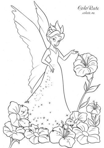 Раскраска с королевой Клэрион из мультфильма про Фей