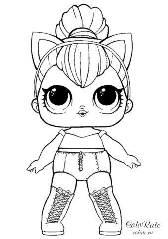 Раскраска королевы Кошечки - LOL Surprise Dolls бесплатно
