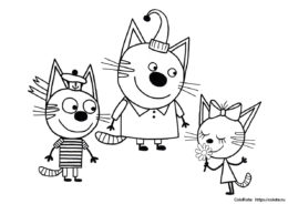 Коржик, Карамелька и Компот - раскраска для детей распечатать на А4
