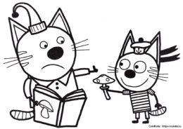 Коржик и Компот - бесплатная разукрашка - Три кота