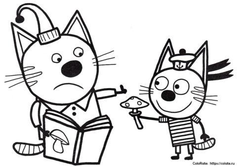 Раскраска Коржик и Компот распечатать | Три кота