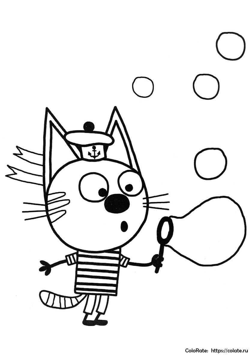Раскраска Коржик и мыльные пузыри распечатать | Три кота