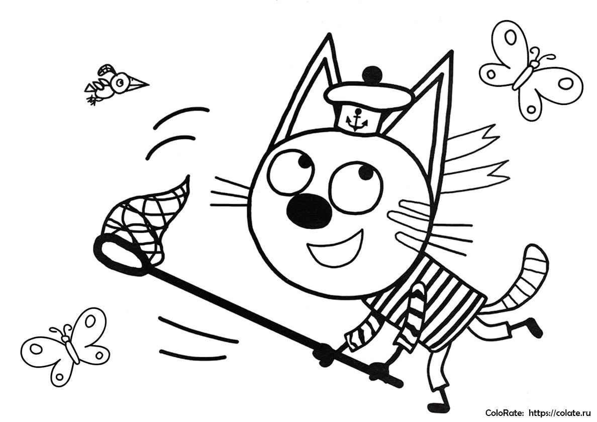 Раскраска Коржик ловит бабочек распечатать | Три кота