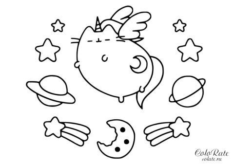 Ангел Пушин Кэт раскраска для девочек бесплатно