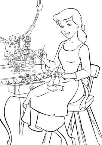 Золушка - костюмы для мышат - раскраска
