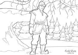 Холодное сердце - Кристофф в лесу раскраска по мультику