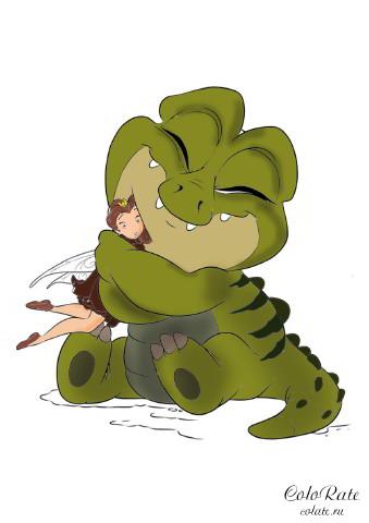 Крокодил из мультика Феи - как раскрасить
