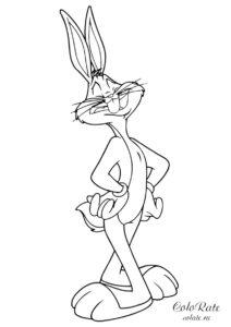 Раскраска с кроликом Багзом Банни для детей
