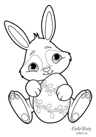 Кролик с пасхальным яйцом - раскраска для малышей