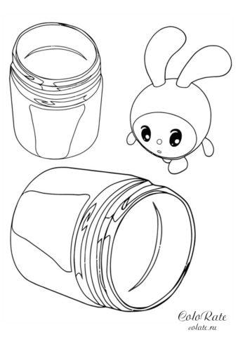 Крошик и баночки - раскраска из мультика Малышарики