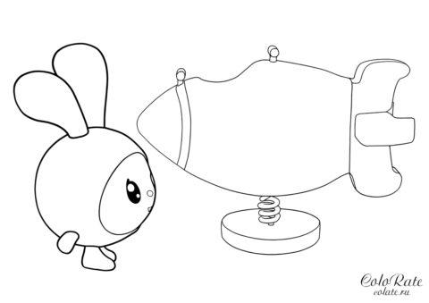 Крошик и качели - разукрашка для детей