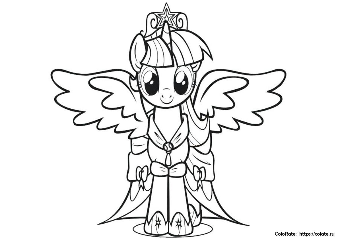 Раскраска Крылатая принцесса распечатать | Сумеречная Искорка