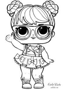 Кукла L.O.L Бон Бон скачать и распечатать раскраску
