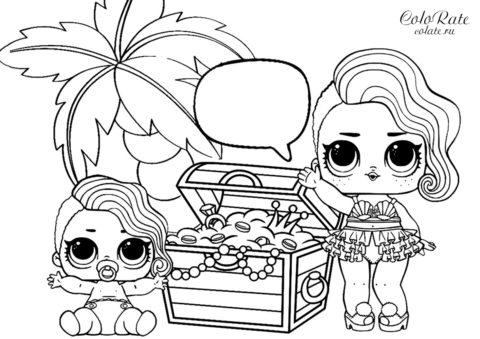 Раскраска Куклы ЛОЛ с кладом распечатать на А4