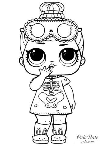 Куколка ЛОЛ Скелетик - детская разукрашка для девочек скачать