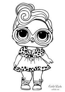 Раскраска с куклой LOL - Кукольное личико бесплатно