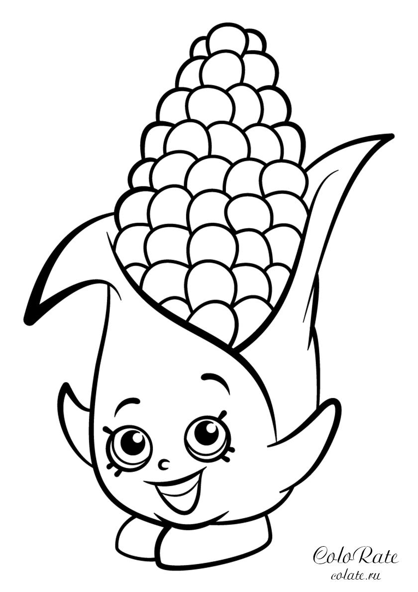 Раскраска Кукурузный початок Корни Коб распечатать | Шопкинс