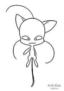 Леди Баг и Супер-кот - раскраска с квами Плагом
