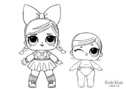 LOL Леди Аниме с сестренкой - бесплатная раскраска для девочек