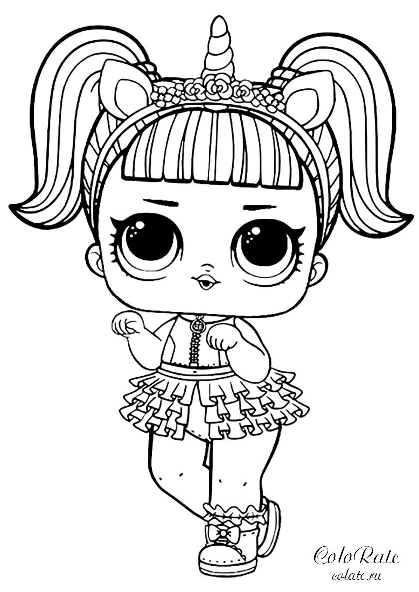 Раскраска LOL Unicorn - Единорожка распечатать   Куклы ЛОЛ ...