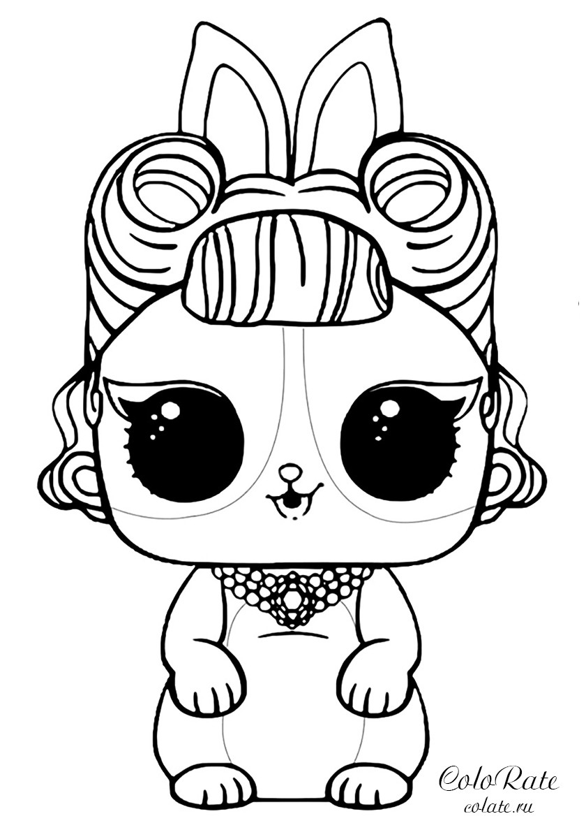 Раскраска ЛОЛ питомцы - Кролик распечатать | Куклы ЛОЛ / L.O.L