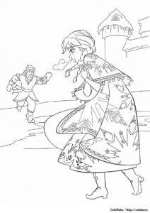 Лед в сердце - раскраска Анны и Кристоффа для детей