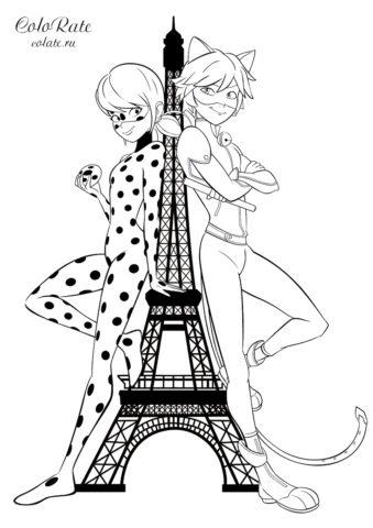 Раскраска Леди Баг и Супер-кот у Эйфелевой башни