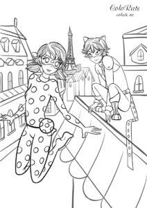 Разукрашка Леди Баг и Супер-кот в Париже скачать и распечатать