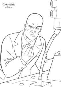 Враг Супермена - раскраска распечатать на листах формата А4