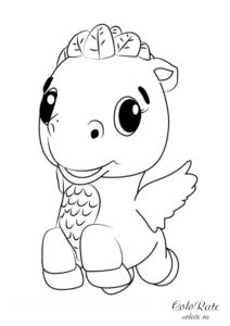Летающий динозавр - раскраска игрушек Хетчималс для детей