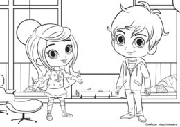 Бесплатные раскраски - Лея и Зак из мультсериала Шиммер и Шайн