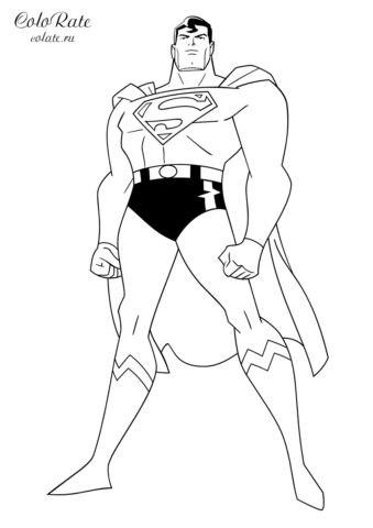 Разукрашка Лига справедливости - Супермен распечатать