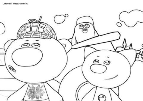 Лисичка, Тучка и Цыпа - распечатать раскраску из Ми-Ми-Мишек на А4