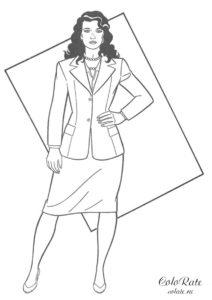 Возлюбленная героя Лоис Лейн - разукрашка с девушкой