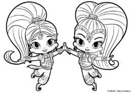 Раскраска с Шиммер и Шайн - лучшие подруги