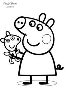 Свинка Пеппа с любимой игрушкой - раскраска для детей распечатать на А4