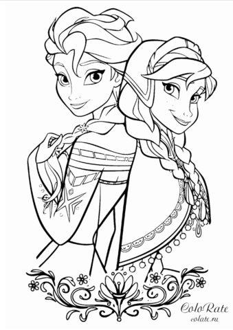Разукрашка с Эльзой и Анной для девочек