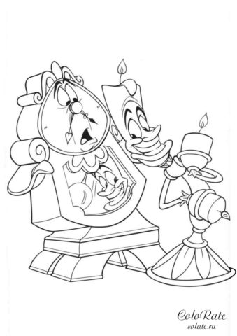 Люмьер и Когсворт - разукрашка для детей из мультфильма Красавица и чудовище
