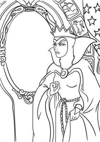 Раскраска со злой мачехой из мультфильма Белоснежка