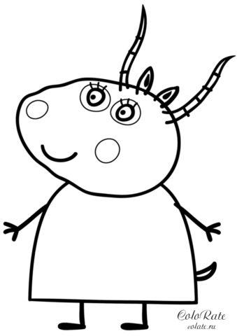 Мадам Газель - раскраска из мультфильма Свинка Пеппа