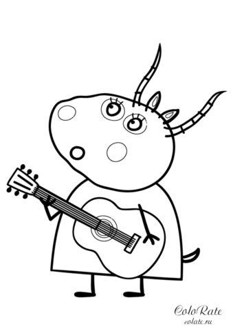 Мадам Газель играет на гитаре - детская разукрашка скачать и распечатать на А4